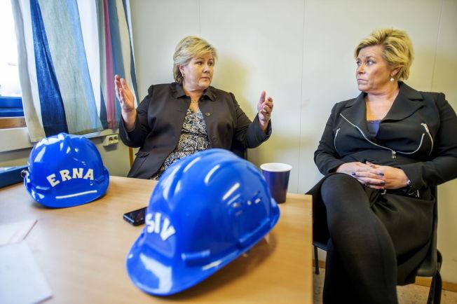 <p>HYPOTETISK: Erna Solberg grep inn i samtalen da VG spurte ut Siv Jensen om hennes planer for valget i 2017. Intervjuet foregikk i en arbeidsbrakke på byggeplassen i Bjørvika.<br/></p>