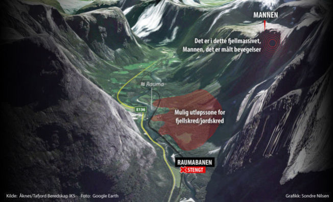 <p>FARLIG OMRÅDE: Grafisk fremstilling av det rasfarlige området i Rauma.</p><p><br/></p>