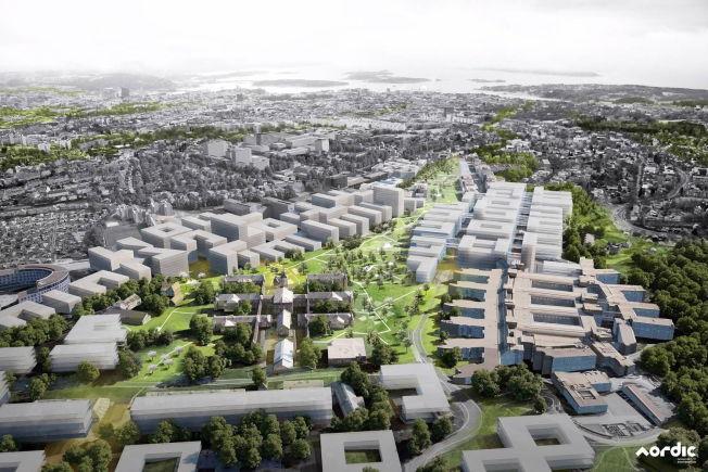 <p>STORE PLANER: Skissen fra Nordic Office of Architecture viser et sykehus som strekker seg over en stort område sør for Rikshospitalet.<br/></p>