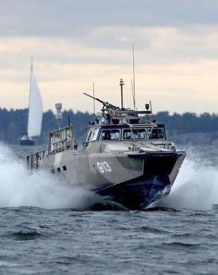 <p>JAKTET: En stridsbåt 90 på Nämndöfjärden i Stockholms skjærgård.<br/></p>