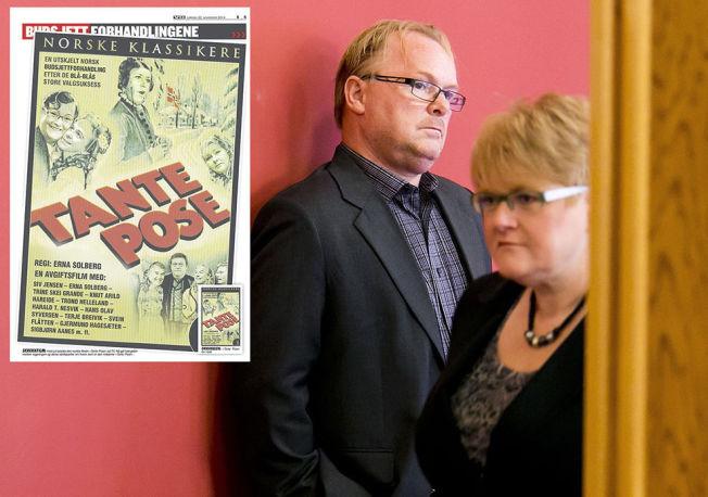 POSEKAMP: Frps nestleder Per Sandberg og Venstres leder Trine Skei Grande krangler fortsatt om hvem som har ansvaret for poseavgiften på 1,25 milliarder i året.
