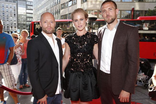 <p>HERCULES-TRIO: Aksel Hennie, Ingrid Bolsø Berdal og Tobias Santelmann under Norges-premieren på Hercules. FOTO: TROND SOLBERG/VG</p>