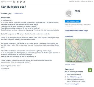 <p>SØKER HJELP: Denne annonsen ble lagt ut på Finn 6. desember. Til nå har den nesten 77.000 visninger. Foto: SKJERMDUMP<br/></p><p></p>