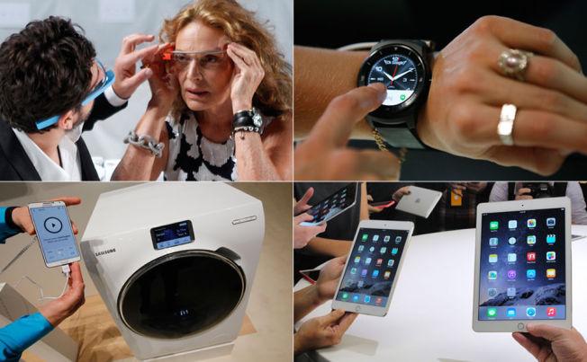 <p>MENER DISSE VIL PREGE FREMTIDEN: Øverst til venstre, designer Diane von Fürstenberg prøver et par Google Glass. Øverst til høyre, en smartklokke fra LG. Nederst til venstre en vaskemaskin koblet opp mot en smarttelefon fra Samsung. Nederst til høyre Apples nye iPader.<br/></p>
