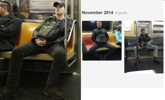 IRRITERENDE: Bredbeint sitting har blitt et såpass stort problem på kollektivtransport i New York at kollektivselskapet nå lanserer egne kampanjer for å komme V-sittingen til livs. Til høyre er et skjermbilde fra Tumblr-bloggen «Men Taking Up Too Much Space on the Train».