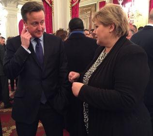 <p>PARTIVENNER: Erna Solberg, her i samtale med Storbritannias statsminister David Cameron. Han leder også Høyres søsterparti Conservatives.</p><p/>