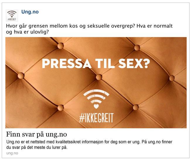 <p>FOR SEKSUELL? Facebook mener denne annonsen er uakseptabel.</p><p><br/></p>
