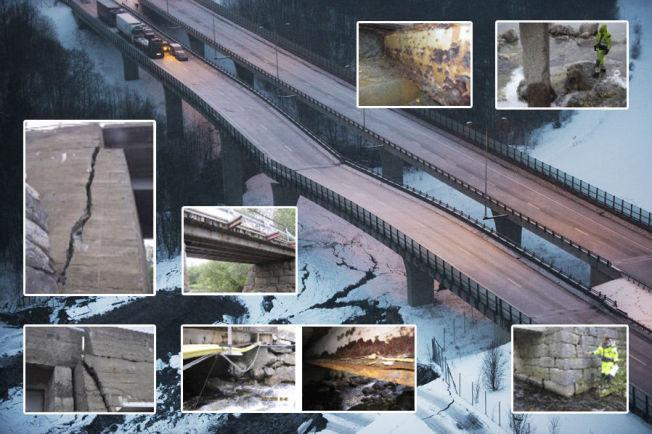 SKADET OG KOLLAPSET: Skjeggestad bro på E18 ved Bentsrud i Holmestrand er stengt etter at broen delvis kollapset. Broen stod ikke på listen over eldre broer med truet bæreevne, men nå skal den rives. De små bildene er et utdrag av skadene på broene i Norge - forklart nærmere i bildene under.