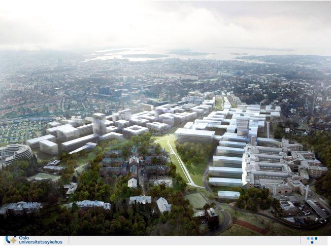 <p>DIREKTØRENS DRØM: Dette er en av de tidlige skissene av «Campus Oslo». Sykehusbygget er lagt i en forlengelse av Rikshospitalet og var lagt over et stort område ned mot og over Ringveien som passerer forbi Ullevål Stadion ikke langt unna. Veien ønsket man å legge i tunell.<br/></p>