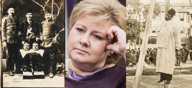 <p>100 ÅR SIDEN TRAGEDIEN: Til venstre. To avkappede hoder av armenere er satt på et bord med tre menn som poserer bak i 1915. I midten: Statsminister Erna Solberg vil ikke delta på minnemarkeringen i Armenia. Til høyre: Offentlig henrettelse ved henging ble folkeforlystelse da massedrapene på armenerne begynte i 1915.<br/></p>