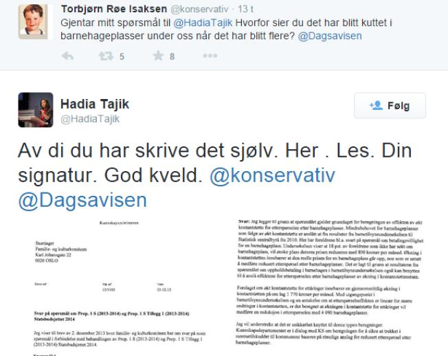 <p>TWITTER-DEBATT: Kunnskapsminister Torbjørn Røe Isaksen (Ap) og Ap-nestleder Hadia Tajik endte i en heftig barnehagedebatt på Twitter fredag.<br/></p>