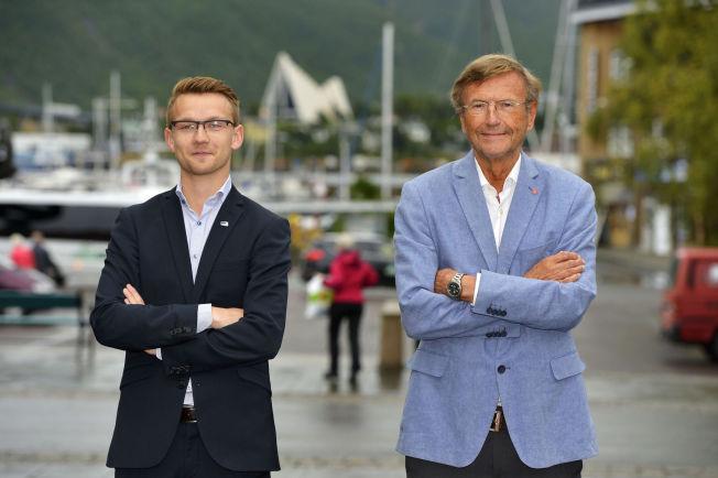 <p>RIVALER: Aps Jarle Aarbakke (72) har vært rektor ved Universitetet i Tromsø, men er fersk innen politikken. Høyres Kristian Støback Wilhelmsen (24) har sittet i kommunestyret i Tromsø i fire år, og har møtt som vararepresentant på Stortinget i hundre dager.</p>