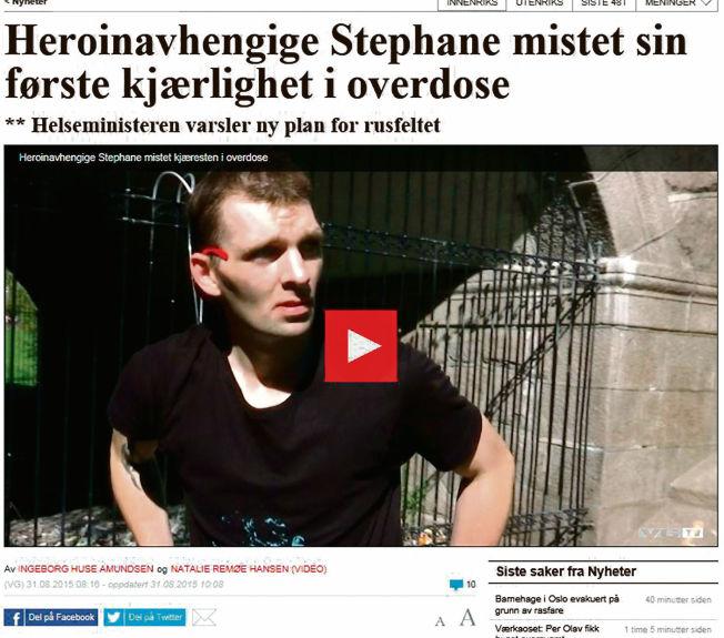 <p><b>TRAGEDIE:</b> Stephane Laborde ble i anledning Verdens Overdosedag intervjuet på VGTV om nettopp overdoser. – Stephane mistet sin kjæreste ved overdose for ti år siden. Jeg husker det veldig godt selv, for Stephane og jeg startet vår ruskarriere sammen, og jeg kjente også henne godt. Da vi var 16 år, som Stephane så riktig sier i intervjuet, tok vi amfetamin sammen for første gang, og fra den dagen har vi begge i praksis vært rusavhengige, skriver Sturla Haugsgjerd.</p>