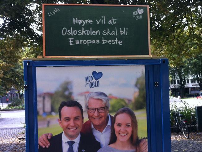 <p>VIL BLI EUROPAMESTER: I valgkampen fortalte Oslo Høyre velgerne at Osloskolen skal bli Europas beste.<br/></p>