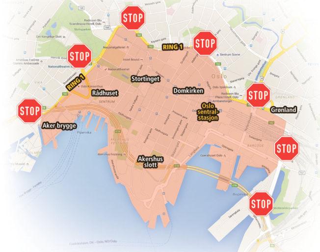 <p>BILSTANS: Karl Johans gate med sidegater, Kvadraturen, Stortingsgata og ned til Aker Brygge, området rundt Tinghuset, Grensen, Stortorget, deler av Torggata, området rundt Oslo City og Operakvarteret skal tømmes for privatbiler.<br/></p>
