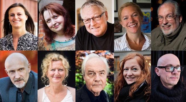 NOMINERTE: Øverst fra venstre: Helga Flatland, Siri Pettersen, Roy Jacobsen, Maja Lunde , Jørgen Jæger. Nede fra venstre: Lars Saabye Christensen, Trude Teige, Ketil Bjørnstad, Heidi Linde og Samuel Bjørk.