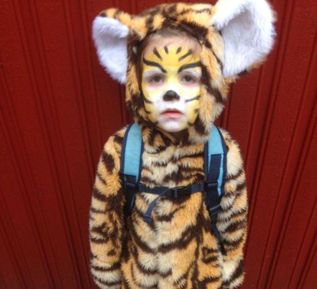 <p>GLEDER SEG: Tidemann (4) skal enten være tiger eller zombie på Halloween på lørdag.<br/></p>