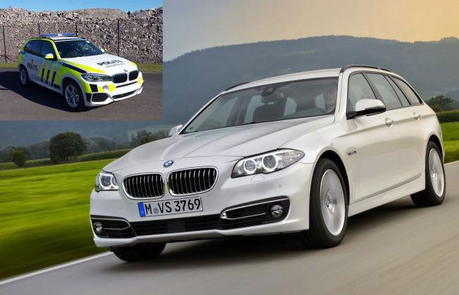 <p>POTENTE POLITIBILER:Både den råe SUVen X5 og den firehjusldrevne 5-serien fra Bayern er potente politibiler. Foto: BMW<br/></p>