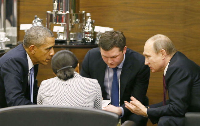<p/> <p>FELLES PROBLEM: Presidentene for USA og Russland snakket fortrolig sammen under G20-møtet på søndag.<br/></p>