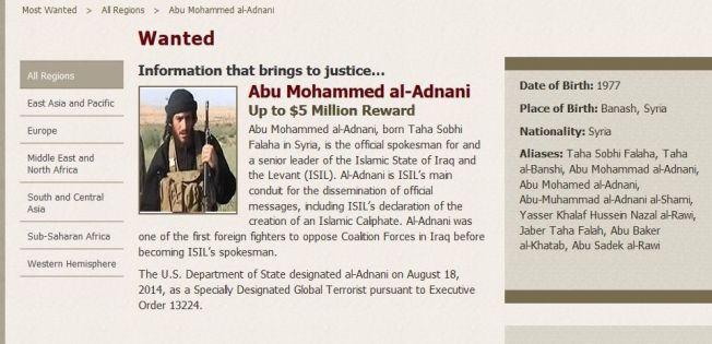 <p>ETTERLYST: USA gjør alt de kan for å finne eller drepe Adnani.<br/></p>