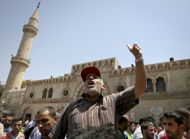 PROTEST MOT KONGEN: 3000 medlemmer av Det muslimske brorskap i Jordan protesterer mot regjeringen i 2011.