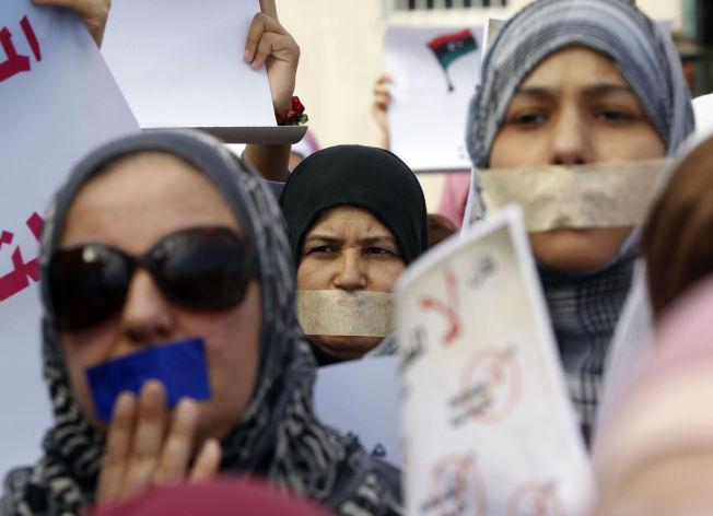 PROTEST MOT OVERGREP: Stille protest til støtte for voldtatte kvinner i Libya i 2011.