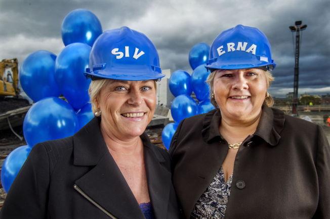 <p>SNEKRER NYTT REGJERINGSLAG: Statsminister Erna Solberg (H) og finansminister Siv Jensen (Frp), her i forbindelse med regjeringens 1-årsfeiring i VG i fjor.<br/></p>