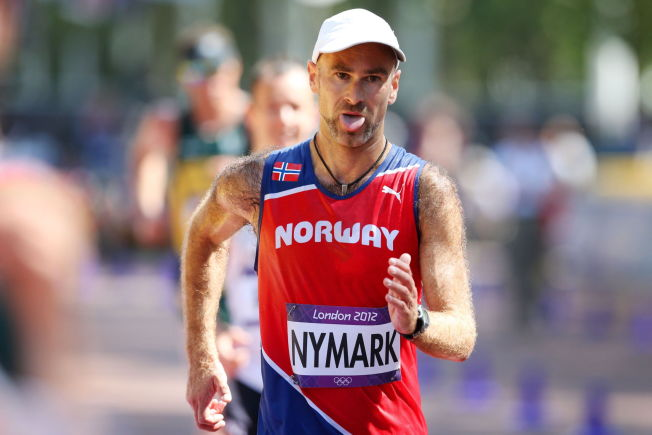 <p>TUNGT: Trond Nymark underveis i siste løp på toppnivå, 50-kilometeren i OL i London.</p>