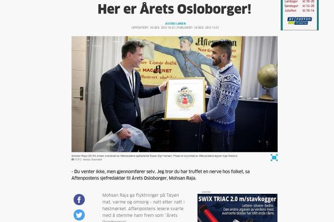 <p>Mohsan Raja (30) fikk prisen overlevert av Aftenpostens sjefredaktør Espen Egil Hansen. Prisen er et portrett av Aftenpostens tegner Inge Grødum. FOTO: Monica Strømdahl, Aftenposten</p>