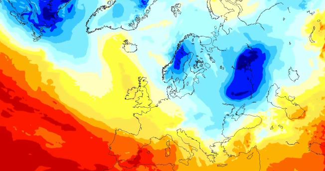 <p>BLÅ KULDE: Dette blå kuldeområdet ligger idag over Russland og i områdene ned mot Tyrkia. Frem mot den 4. januar varsler Storm Geo at det legger seg over Norge. Desto blåere området, desto kaldere er det.</p>