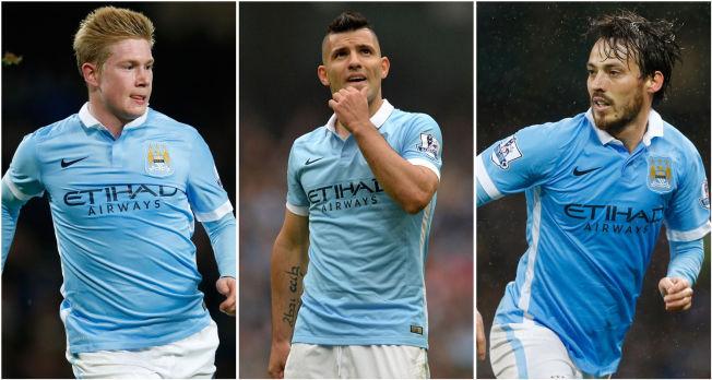 <p>NØKKELSPILLERE: Man.Citys vinnersjanser øker med trioen Kevin De Bruyne, Sergio Agüero og David Silva i aksjon samtidig. I helgens cupkamp mot Norwich kom de to førstnevnte på scoringslisten.</p>