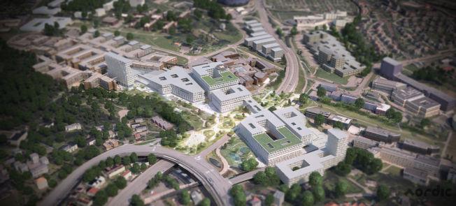 <p>GAUSTAD: Denne ideskissen viser en tenkt bygningsmasse på det nye sykehuset på Gaustad. Det eksisterende Rikshospitalet ligger øverst til venstre i bildet. Vegmyndighetene ønsker imidlerid ikke bygninger over Ring 3, men det kan bli en eller flere brede bruer over veien.</p>