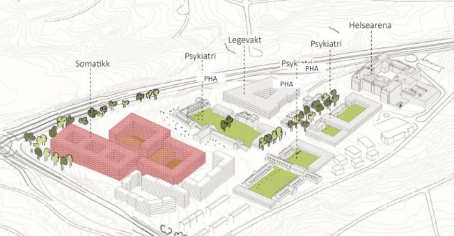 <p>LOKALSYKEHUS: Dette er den foreløpige skissen til nytt lokalsykehus på Aker.</p>