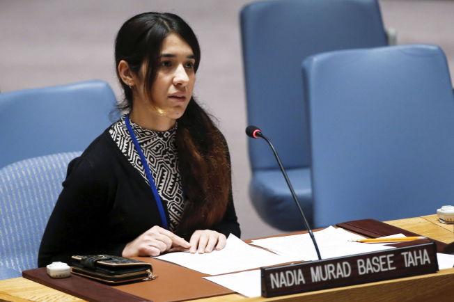 <p>ÅPEN: Her er Nadia Murad hos FN, hvor hun fortalte historien sin til Sikkerhetsrådet.</p>