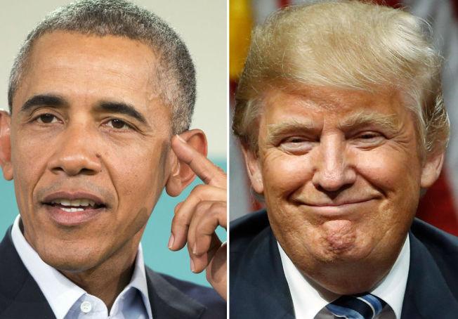 <p>ORDKRIG: President Barack Obama og republikaner Donald Trump.</p>