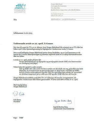 <p>BREVET: Her hever Norges Skiforbund avtalen.</p>