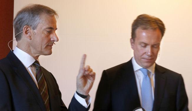 <p>UENIGE OM NATO-POLITIKKEN: Arbeiderparti-leder Jonas Gahr Støre og utenriksminister Børge Brende (H), her under et møte hos Rederiforbundet i april i fjor.</p>
