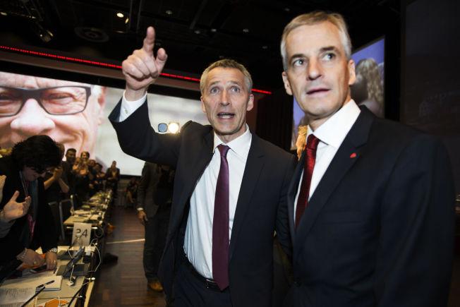 <p>ARVTAKEREN: Arbeiderparti-leder Jonas Gahr Støre, her sammen med tidligere Ap-leder og nå Natos generalsekretær Jens Stoltenberg under Arbeiderpartiets landsmøte i fjor.<br/></p>