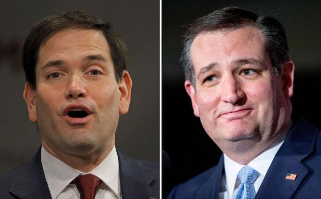 <p>FRIR TIL VELGERNE: Floridas senator Marco Rubio (t.v.) og Texas' senator Ted Cruz kjemper om velgernes gunst for å bli Republikanernes presidentkandidat.</p>