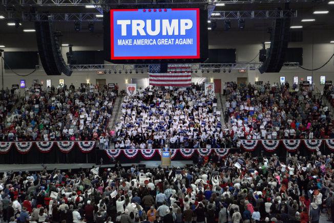 <p>FULLT HUS: Stemningen var stor på Donald Trumps valgmøte i Las Vegas.</p>