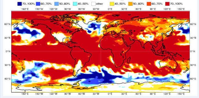 <p>BLODRØD VÅR KLODEN RUNDT: Dette fargekartet viser hvordan våren ventes å være betydelig varmere enn normalt.</p>