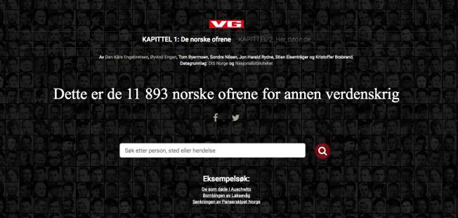"""Skjermbilde fra VG Spesial """"Dette er de 11 893 norske ofrene for annen verdenskrig""""."""
