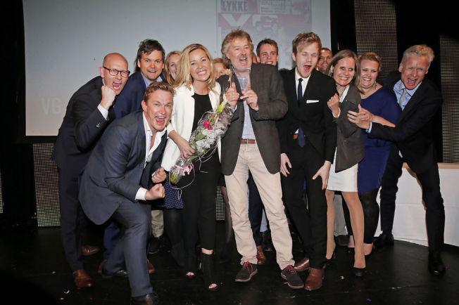 <p>Jubel under mediedagene i Bergen, mai 2015. VG stakk av med hele sju priser, inkludet årets avis, årets avismagasin og årets nettsted!</p>