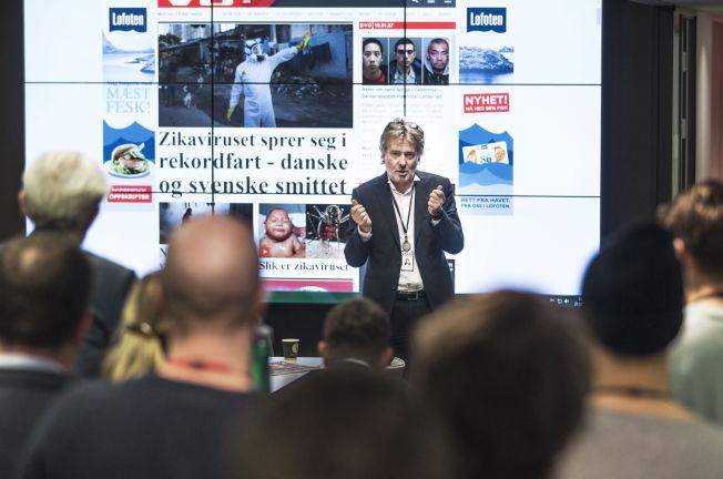 <p>Redaktør Torry Pedersen, på det daglige 10.45-møtet i VG</p>