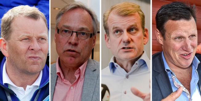 <p>ÅPENHET ELLER IKKE? Fra venstre: Friidrettspresident Tore Hordnes, sykkelpresident Harald Tiedemann Hansen, skipresident Erik Røste og idrettspresident Tom Tvedt.</p>