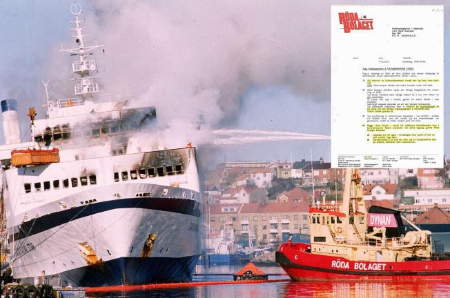 <p>REDNINGSRAPPORT SENTRAL: Her driver en av båtene til Røda Bolaget slokkearbeid mens «Scandinavian Star» ligger i Lysekil. Selskapet skrev også en bergingsrapport hvor blant annet et mye omtalt oljerør er beskrevet.</p>