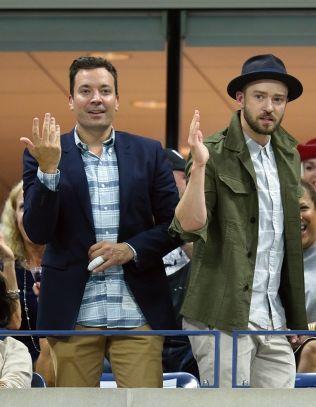 <p>STJERNEVANT: Jimmy Fallon (t.v.), her med Justin Timberlake på besøk. Foto: AFP<br/></p>