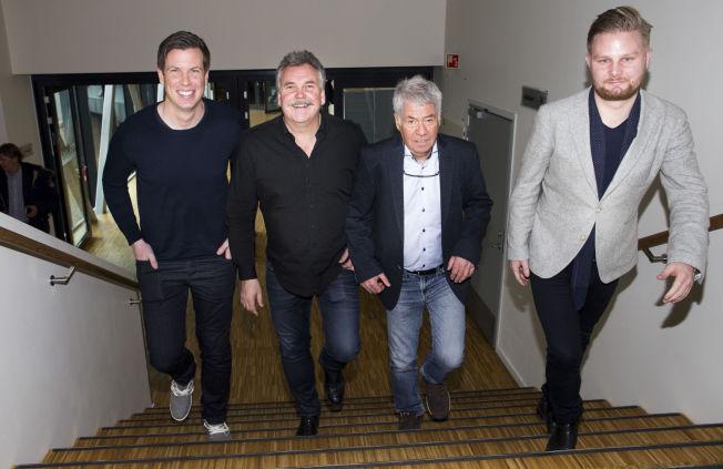 KOMMENTATORER: Klare for ny sesong - f.v.: Jesper Mathisen, Harald Bredeli, Drillo og Marius Skjelbæk.