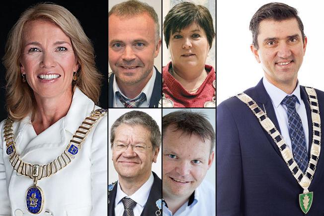 <p>KRISERAMMET: Dette er noen av ordførerne som er hardest rammet av krisen i oljebransjen - Christine Sagen Helgø (Stavanger), Kjell Neergaard (Kristiansund), Marianne Sandahl Bjorøy (Fjell), Arne-Christian Mohn (Haugesund). Knut Erik Engh (Ulstein) ogOdd Stangeland (Eigersund).</p>