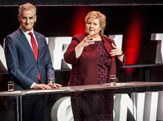 HINDRE AT FLERE DRUKNER I MIDDELHAVET: Jonas Gahr Støre og Erna SOlberg var sammen på årskonferansen i Norsk olje & gass i forrige uke.